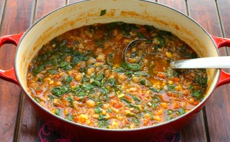 Moroccan Chickpea and Spinach Stew